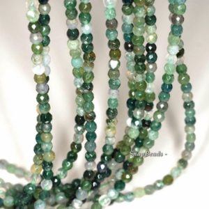 Shop Moss Agate Beads! 3mm Moss Agate Gemstone Green Micro Faceted Round Loose Beads 16 inch Full Strand (90148184-170-E) | Natural genuine beads Moss Agate beads for beading and jewelry making.  #jewelry #beads #beadedjewelry #diyjewelry #jewelrymaking #beadstore #beading #affiliate #ad