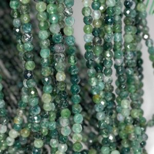 Shop Moss Agate Beads! 4mm Botanical Moss Agate Gemstone Green Faceted Round Loose Beads 15.5 inch Full Strand LOT 1,2,6,12 and 50 (90184135-356) | Natural genuine beads Moss Agate beads for beading and jewelry making.  #jewelry #beads #beadedjewelry #diyjewelry #jewelrymaking #beadstore #beading #affiliate #ad