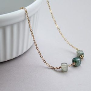 Shop Moss Agate Necklaces! Moss Agate Necklace, delicate agate necklace gold filled, Dainty Green Agate necklace, Green Agate Pendant Necklace | Natural genuine Moss Agate necklaces. Buy crystal jewelry, handmade handcrafted artisan jewelry for women.  Unique handmade gift ideas. #jewelry #beadednecklaces #beadedjewelry #gift #shopping #handmadejewelry #fashion #style #product #necklaces #affiliate #ad