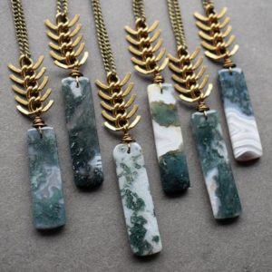 Moss Agate Necklace – Long Stone Necklace – Agate Stone Necklace – Raw Stone Jewelry – Green Stone Pendant – Bohemian Pendant | Natural genuine Gemstone necklaces. Buy crystal jewelry, handmade handcrafted artisan jewelry for women.  Unique handmade gift ideas. #jewelry #beadednecklaces #beadedjewelry #gift #shopping #handmadejewelry #fashion #style #product #necklaces #affiliate #ad