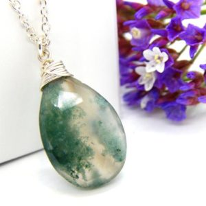 Shop Moss Agate Necklaces! Moss Agate Necklace,Agate Necklace,Green Gemstone Necklace,Moss Agate Pendant Necklace,Green Agate Necklace,Choose Your Finish | Natural genuine Moss Agate necklaces. Buy crystal jewelry, handmade handcrafted artisan jewelry for women.  Unique handmade gift ideas. #jewelry #beadednecklaces #beadedjewelry #gift #shopping #handmadejewelry #fashion #style #product #necklaces #affiliate #ad