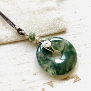 Shop Moss Agate Pendants! vegan amulet for protection, moss agate pendant, gemstone gift for her, grounding necklace, heart chakra crystal | Natural genuine Moss Agate pendants. Buy crystal jewelry, handmade handcrafted artisan jewelry for women.  Unique handmade gift ideas. #jewelry #beadedpendants #beadedjewelry #gift #shopping #handmadejewelry #fashion #style #product #pendants #affiliate #ad
