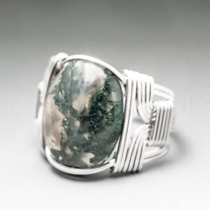 Moss Agate Sterling Silver Wire Wrapped Gemstone Cabochon Ring – Optional Oxidation/Antiquing – Made to Order, Ships Fast! | Natural genuine Gemstone rings, simple unique handcrafted gemstone rings. #rings #jewelry #shopping #gift #handmade #fashion #style #affiliate #ad
