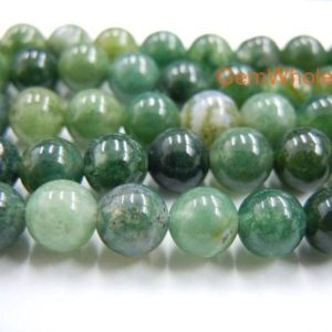 "15.5"" 8mm/10mm Natural Moss agate round beads, Natural Green gemstone, semi-precious stone, DIY jewelry beads, gemstone wholesaler 