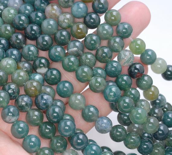 Sale Price + Free Usa Ship Genuine Natural Green Moss Agate Round Shape 4mm 6mm 8mm 10mm Grade Aa