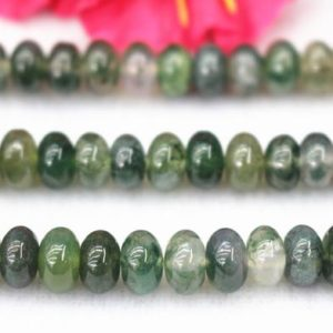 """Natural Moss Agate Beads,4x6mm 5x8mm Moss Agate Rondelle Beads,Moss Agate beads wholesale supply,15"""" strand 