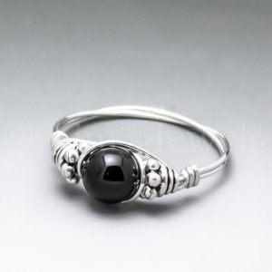 Shop Obsidian Rings! Black Obsidian Bali Sterling Silver Wire Wrapped Gemstone BEAD Ring – Made to Order, Ships Fast! | Natural genuine Obsidian rings, simple unique handcrafted gemstone rings. #rings #jewelry #shopping #gift #handmade #fashion #style #affiliate #ad
