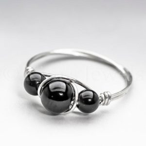 Shop Obsidian Rings! Black Obsidian Sterling Silver Wire Wrapped Gemstone BEAD Ring – Made to Order, Ships Fast! | Natural genuine Obsidian rings, simple unique handcrafted gemstone rings. #rings #jewelry #shopping #gift #handmade #fashion #style #affiliate #ad