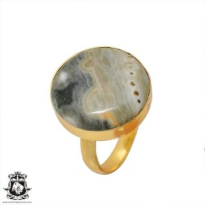Shop Ocean Jasper Rings! Size 7.5 – Size 9 Adjustable Ocean jasper 24K Gold Plated Ring GPR387 | Natural genuine Ocean Jasper rings, simple unique handcrafted gemstone rings. #rings #jewelry #shopping #gift #handmade #fashion #style #affiliate #ad