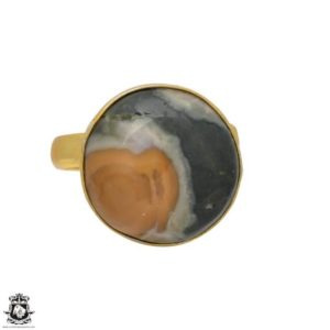 Shop Ocean Jasper Rings! Size 9.5 – Size 11 Adjustable Ocean Jasper 24K Gold Plated Ring GPR114 | Natural genuine Ocean Jasper rings, simple unique handcrafted gemstone rings. #rings #jewelry #shopping #gift #handmade #fashion #style #affiliate #ad
