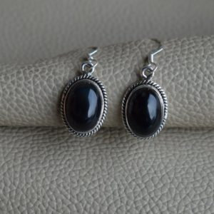 Shop Onyx Earrings! Natural Black Onyx Earrings-Handmade Silver Earrings-925 Sterling Silver Earrings-Black Onyx Oval Designer Earrings-December Birthstone | Natural genuine Onyx earrings. Buy crystal jewelry, handmade handcrafted artisan jewelry for women.  Unique handmade gift ideas. #jewelry #beadedearrings #beadedjewelry #gift #shopping #handmadejewelry #fashion #style #product #earrings #affiliate #ad