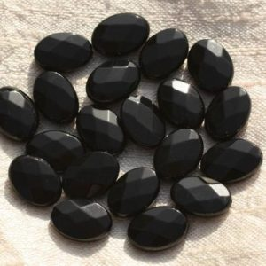 Shop Onyx Faceted Beads! 2PC – 4558550015624 14x10mm faceted oval Black Onyx stone – beads | Natural genuine faceted Onyx beads for beading and jewelry making.  #jewelry #beads #beadedjewelry #diyjewelry #jewelrymaking #beadstore #beading #affiliate #ad