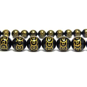 Shop Onyx Bead Shapes! Black Onyx Spacer Beads Carved Chinese Wealth Coin 8mm 10mm 12mm, Black Gold Gemstone Beads, Money Lucky Feng Shui Decor Supplies | Natural genuine other-shape Onyx beads for beading and jewelry making.  #jewelry #beads #beadedjewelry #diyjewelry #jewelrymaking #beadstore #beading #affiliate #ad