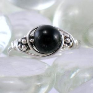 Shop Onyx Rings! Black Onyx Bali Sterling Silver Wire Wrapped Ring | Natural genuine Onyx rings, simple unique handcrafted gemstone rings. #rings #jewelry #shopping #gift #handmade #fashion #style #affiliate #ad