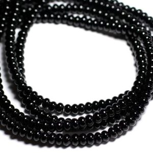 Shop Onyx Rondelle Beads! Wire 39cm env – beads of stone – Onyx 100pc black 6x4mm Rondelle | Natural genuine rondelle Onyx beads for beading and jewelry making.  #jewelry #beads #beadedjewelry #diyjewelry #jewelrymaking #beadstore #beading #affiliate #ad