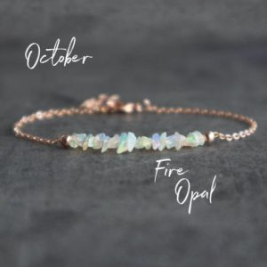 Raw Opal Bracelet, Fire Opal Bracelet, White Opal Bracelet, Opal Jewelry, October Birthstone Bracelet, Birthday Gifts for Her, Rose Gold | Natural genuine Opal bracelets. Buy crystal jewelry, handmade handcrafted artisan jewelry for women.  Unique handmade gift ideas. #jewelry #beadedbracelets #beadedjewelry #gift #shopping #handmadejewelry #fashion #style #product #bracelets #affiliate #ad