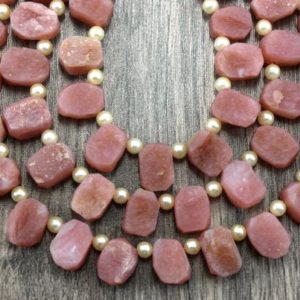 Shop Opal Chip & Nugget Beads! Christmas Sale 1 Strand Natural Pink Opal Gemstone, 26 Pieces Uneven Shape Pink Rough, Size 8×10-8×12 MM Pink Opal Raw Side Driller Rough | Natural genuine chip Opal beads for beading and jewelry making.  #jewelry #beads #beadedjewelry #diyjewelry #jewelrymaking #beadstore #beading #affiliate #ad