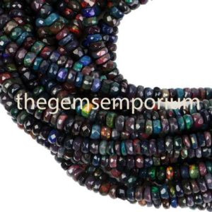 Shop Opal Beads! Black Ethiopian Opal Beads, Black Opal Beads, Black Ethiopian Opal Faceted Rondelle, Black Ethiopian Opal Faceted Gemstone Beads, Opal Beads | Natural genuine beads Opal beads for beading and jewelry making.  #jewelry #beads #beadedjewelry #diyjewelry #jewelrymaking #beadstore #beading #affiliate #ad