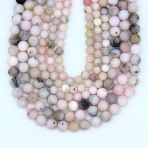 Shop Opal Bead Shapes! Natural Matte Pink Opal Beads 6mm 8mm Pink Opal Gemstone Beads Pink Mala Beads Craft Opal Beads Wholesale | Natural genuine other-shape Opal beads for beading and jewelry making.  #jewelry #beads #beadedjewelry #diyjewelry #jewelrymaking #beadstore #beading #affiliate #ad