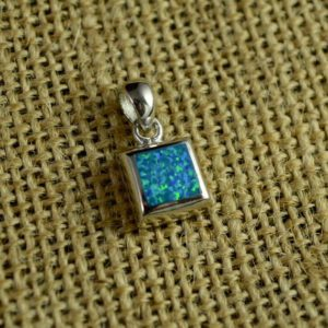 Shop Opal Pendants! Simple Square Gilson Opal Pendant // Opal Jewelry // Sterling Silver // Village Silversmith | Natural genuine Opal pendants. Buy crystal jewelry, handmade handcrafted artisan jewelry for women.  Unique handmade gift ideas. #jewelry #beadedpendants #beadedjewelry #gift #shopping #handmadejewelry #fashion #style #product #pendants #affiliate #ad