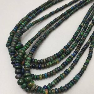 """Shop Opal Rondelle Beads! 26 Cart Black Opal Plain Rondelle 3 to 6 mm 16""""/Black opal Beads/Gemstone Beads/Rondelle Opal Beads 