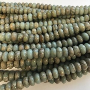 Shop Opal Rondelle Beads! African Blue Opal 6x3mm 8x5mm 14x6mm Rondelle Gemstone Beads  – 15.5 inch strand   Natural genuine rondelle Opal beads for beading and jewelry making.  #jewelry #beads #beadedjewelry #diyjewelry #jewelrymaking #beadstore #beading #affiliate #ad