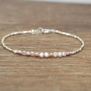 Shop Pearl Bracelets! Pink Freshwater Pearl Bracelet, Hill Tribe Silver Beads, Fine Silver, Pearl Jewelry, June Birthstone, Stacking Bracelet, | Natural genuine Pearl bracelets. Buy crystal jewelry, handmade handcrafted artisan jewelry for women.  Unique handmade gift ideas. #jewelry #beadedbracelets #beadedjewelry #gift #shopping #handmadejewelry #fashion #style #product #bracelets #affiliate #ad
