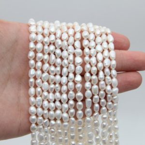 Shop Freshwater Pearls! 5~6MM Nugget Pearl,Egg Pearls Beads,White Pearl,Freshwater Pearl,Seed Loose Pearl,Pearl Strand,Wedding Pearl,Wholesale Pearl Beads Jewelry. | Natural genuine beads Pearl beads for beading and jewelry making.  #jewelry #beads #beadedjewelry #diyjewelry #jewelrymaking #beadstore #beading #affiliate #ad