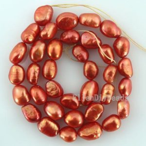 Shop Pearl Beads! 8-9mm Orange red Nugget Pearl Beads,Baroque Nugget Pearl strand,Freshwater cultured pearl,wholesale pearls-36 Pieces-14 inches-BP012 | Natural genuine beads Pearl beads for beading and jewelry making.  #jewelry #beads #beadedjewelry #diyjewelry #jewelrymaking #beadstore #beading #affiliate #ad