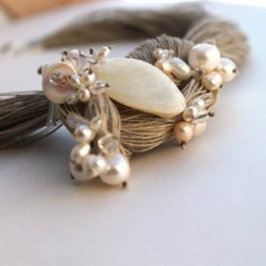 Pearl Wedding Linen Necklace Bridal Natural Pearl Jewelry OOAK Statement Necklace Junes Birthstone Snow White Gift for Her Valentines Day | Natural genuine Gemstone necklaces. Buy handcrafted artisan wedding jewelry.  Unique handmade bridal jewelry gift ideas. #jewelry #beadednecklaces #gift #crystaljewelry #shopping #handmadejewelry #wedding #bridal #necklaces #affiliate #ad