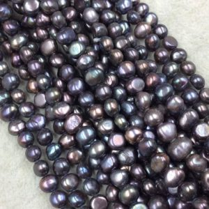 "Shop Pearl Bead Shapes! 3mm x 6-8mm Natural Black/Rainbow Freshwater Peacock Pearl Button/Potato Shape Beads – 15.5"" Strand (Approx. 66 Beads) – Sold by the Strand 