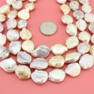 Shop Pearl Bead Shapes! AA 16-18mm Pretty Pink Purple teardrop coin pearl strands ,Flat Coin Freshwater Pearl Beads,Loose pearl beads,Full Strand-19pcs-16 inches | Natural genuine other-shape Pearl beads for beading and jewelry making.  #jewelry #beads #beadedjewelry #diyjewelry #jewelrymaking #beadstore #beading #affiliate #ad