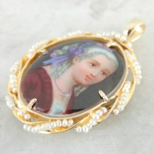 Shop Pearl Pendants! Noble Women, Painted Enamel and Pearl Pendant NQ88Y6-R | Natural genuine Pearl pendants. Buy crystal jewelry, handmade handcrafted artisan jewelry for women.  Unique handmade gift ideas. #jewelry #beadedpendants #beadedjewelry #gift #shopping #handmadejewelry #fashion #style #product #pendants #affiliate #ad