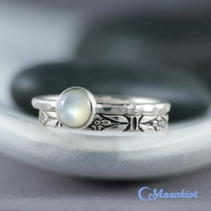 Forget Me Not Stacking Ring Wedding Set, Sterling Silver Pearl Ring, Floral Engagement Ring Set, Flower Wedding Ring Set | Moonkist Designs | Natural genuine Gemstone rings, simple unique alternative gemstone engagement rings. #rings #jewelry #bridal #wedding #jewelryaccessories #engagementrings #weddingideas #affiliate #ad