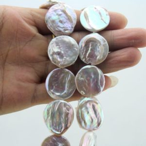20-21mm Purple color Coin Pearl Beads, Natural Freshwater Pearl Beads,Coin pearl strand,Flat round Pearl Beads-18 Pieces-15 inches-FS088 | Natural genuine beads Gemstone beads for beading and jewelry making.  #jewelry #beads #beadedjewelry #diyjewelry #jewelrymaking #beadstore #beading #affiliate #ad