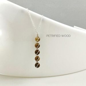 Shop Petrified Wood Pendants! Petrified Wood Pendant Necklace, Matte Finish With Sterling Silver | Natural genuine Petrified Wood pendants. Buy crystal jewelry, handmade handcrafted artisan jewelry for women.  Unique handmade gift ideas. #jewelry #beadedpendants #beadedjewelry #gift #shopping #handmadejewelry #fashion #style #product #pendants #affiliate #ad