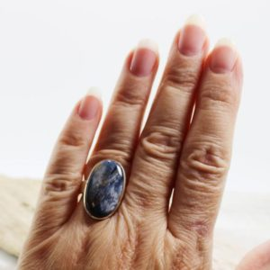 Shop Pietersite Rings! Pietersite ring amazing blues Pietersite stone cab oval shape set on solid 925 sterling silver everyday piece looks great for all unisex | Natural genuine Pietersite rings, simple unique handcrafted gemstone rings. #rings #jewelry #shopping #gift #handmade #fashion #style #affiliate #ad