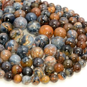 Genuine Blue African Pietersite Gemstone Blue Brown Grade AA Round 7mm 9mm 10mm 11mm 12mm 13mm 14mm Loose Beads 7 inch Half Strand (A269) | Natural genuine round Gemstone beads for beading and jewelry making.  #jewelry #beads #beadedjewelry #diyjewelry #jewelrymaking #beadstore #beading #affiliate #ad