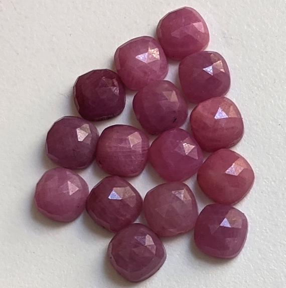 8mm Pink Sapphire Faceted Cushion Shape Cabochon, Natural Pink Sapphire Flat Back Cushion Stone For Jewelry (5pcs To 10 Pcs Option) - Pdg302