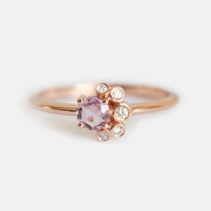 Round Pink Sapphire & Diamond Cluster Ring, Rose Cut Purple Sapphire Ring in 14k Solid Gold | Natural genuine Pink Sapphire jewelry. Buy crystal jewelry, handmade handcrafted artisan jewelry for women.  Unique handmade gift ideas. #jewelry #beadedjewelry #beadedjewelry #gift #shopping #handmadejewelry #fashion #style #product #jewelry #affiliate #ad