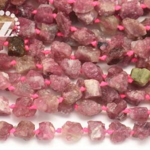 """Shop Pink Tourmaline Chip & Nugget Beads! Pink Tourmaline rough nugget beads,rough cut bead,raw bead,Tourmaline,Genuine,Natural,Gemstone,7-9×8-9mm,15"""" full strand 