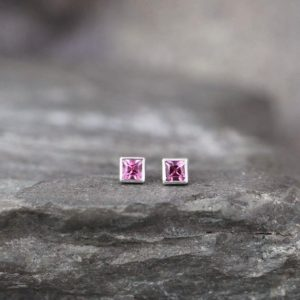 Shop Pink Tourmaline Earrings! Pink Tourmaline Earrings – Sterling Silver Tiny Stud Earring – Square Pink Gemstone – October Birthstone – Minimalist Earrings | Natural genuine Pink Tourmaline earrings. Buy crystal jewelry, handmade handcrafted artisan jewelry for women.  Unique handmade gift ideas. #jewelry #beadedearrings #beadedjewelry #gift #shopping #handmadejewelry #fashion #style #product #earrings #affiliate #ad