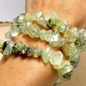 Prehnite Chip Stone Bracelet | Natural genuine Prehnite bracelets. Buy crystal jewelry, handmade handcrafted artisan jewelry for women.  Unique handmade gift ideas. #jewelry #beadedbracelets #beadedjewelry #gift #shopping #handmadejewelry #fashion #style #product #bracelets #affiliate #ad