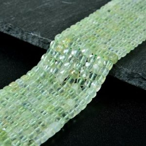 Shop Prehnite Faceted Beads! 4MM  Prehnite Gemstone Grade AAA Micro Faceted Square Cube Loose Beads (P4) | Natural genuine faceted Prehnite beads for beading and jewelry making.  #jewelry #beads #beadedjewelry #diyjewelry #jewelrymaking #beadstore #beading #affiliate #ad