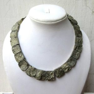 Shop Pyrite Necklaces! Natural Rare Rw Pyrite Gold Layout Necklace, Bib Necklace, Cleopatra Necklace, Graduated Collar Necklace, 11x10mm To 19x18mm,  GDS980 | Natural genuine Pyrite necklaces. Buy crystal jewelry, handmade handcrafted artisan jewelry for women.  Unique handmade gift ideas. #jewelry #beadednecklaces #beadedjewelry #gift #shopping #handmadejewelry #fashion #style #product #necklaces #affiliate #ad