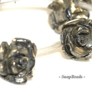 "Shop Pyrite Bead Shapes! 12mm Palazzo Iron Pyrite Gemstone Carved Rose Flower Floral Loose 12mm Beads 16"" Full Strand LOT 1,2,6,12 and 20 (90147622-124) 