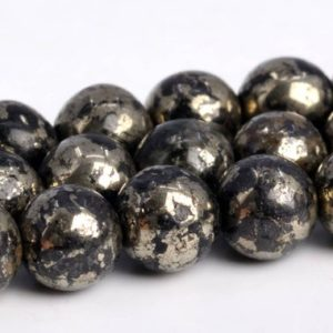 "Shop Pyrite Beads! 5-6MM Gold & Black Pyrite Beads Grade AAA Genuine Natural Gemstone Round Loose Beads 15""/ 7.5"" Bulk Lot Options (103030) 