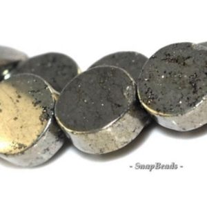 Shop Pyrite Round Beads! 8mm Palazzo Iron Pyrite Gemstone, Flat Round, Circle Coin Button, 8mm Loose Beads 8inch Half Strand (90181666-138) | Natural genuine round Pyrite beads for beading and jewelry making.  #jewelry #beads #beadedjewelry #diyjewelry #jewelrymaking #beadstore #beading #affiliate #ad