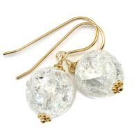 Crackle Clear Quartz Earrings Sterling Silver Or 14k Solid Gold Or Filled Round Cut Faceted Natural Quartz Mosaic Round Beaded Accent Drops | Natural genuine Gemstone jewelry. Buy crystal jewelry, handmade handcrafted artisan jewelry for women.  Unique handmade gift ideas. #jewelry #beadedjewelry #beadedjewelry #gift #shopping #handmadejewelry #fashion #style #product #jewelry #affiliate #ad