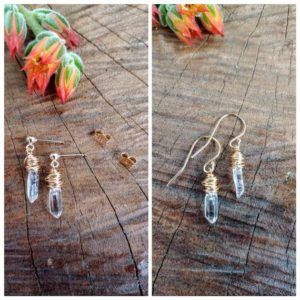 Shop Quartz Crystal Earrings! Dainty quartz earrings. Available in sterling silver, gold, or rose gold wire wrapping | Natural genuine Quartz earrings. Buy crystal jewelry, handmade handcrafted artisan jewelry for women.  Unique handmade gift ideas. #jewelry #beadedearrings #beadedjewelry #gift #shopping #handmadejewelry #fashion #style #product #earrings #affiliate #ad
